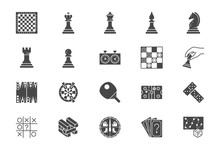 Board Games Flat Icons. Vector...