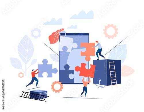 Photo People make smartphone app, puzzle vector illustration.