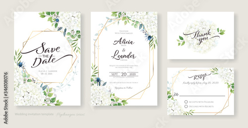 Fotomural Wedding Invitation, save the date, thank you, RSVP card Design template