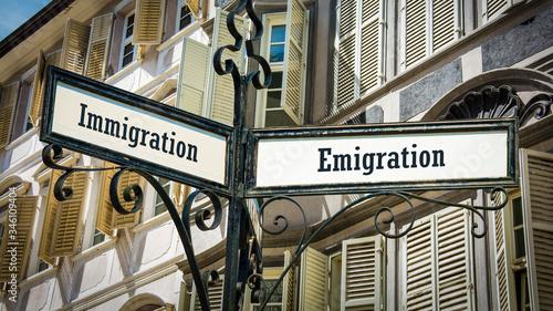 Street Sign Emigration versus Immigration Canvas Print