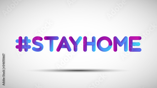 Photo Hashtag Stay Home blended lettering