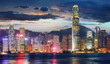 canvas print picture - Hong Kong, China skyline panorama from across Victoria Harbor