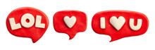 Clay Putty, Handmade Plasticine Emojis Badge Stickers Set. Putty Social Media Emoji Pack.