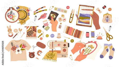 Obraz na plátně Set of embroidery and weaving vector flat illustration