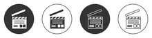 Black Movie Clapper Icon Isolated On White Background. Film Clapper Board. Clapperboard Sign. Cinema Production Or Media Industry. Circle Button. Vector Illustration