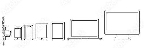 Fototapeta PC and smartphone icon set obraz