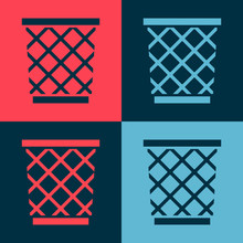 Pop Art Trash Can Icon Isolate...