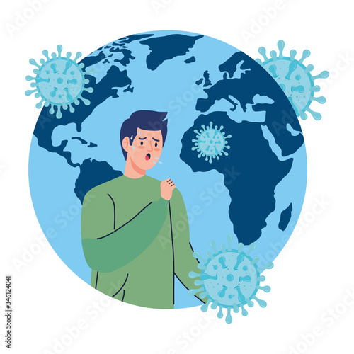 фотографія planet earth with covid19 particles and man sick vector illustration design