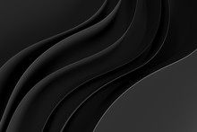 Abstract Black Waves Background.3d Rendering.