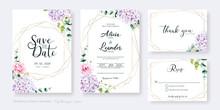 Set Of Floral Wedding Invitation Card, Save The Date, Thank You, Rsvp Template. Vector. Hydrangea Flower, Pink Rose With Greenery.