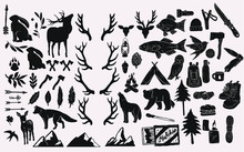 Hand Drawn Vintage Rustic Elements. Forest Wildlife, Hiking And Camping Equipment, Tools, Axes. Nature Illustrations, Animals, Mountains And Trees. Stamp Silhouette Graphics For Logo Illustrations