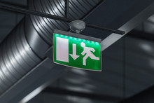 Emergency Exit Sign With Stain...