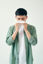 Sick Guy Isolated Has Runny Nose.