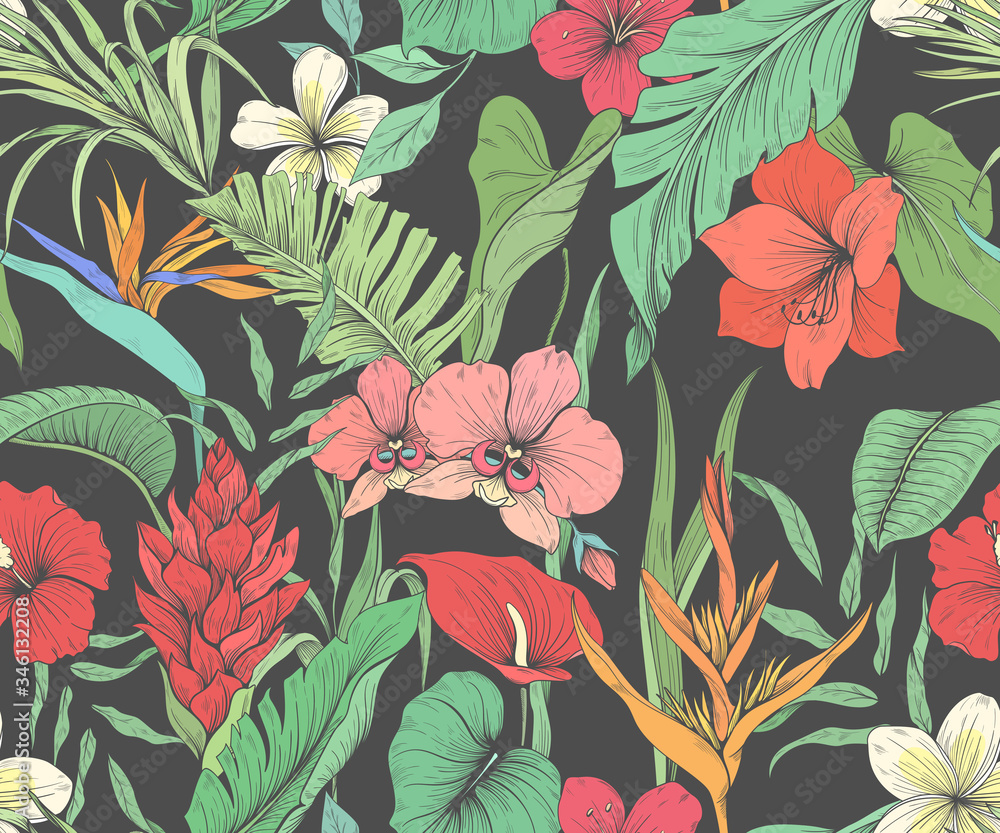 Fototapeta Seamless pattern with tropical flowers and palm leaves