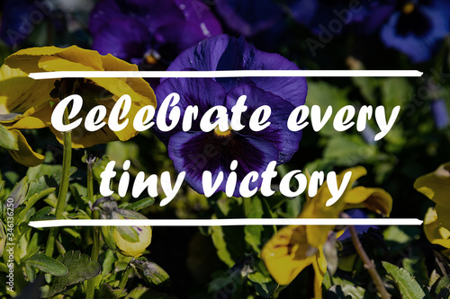 Photo Inspiration motivation quote about life - Celebrate every tiny victory