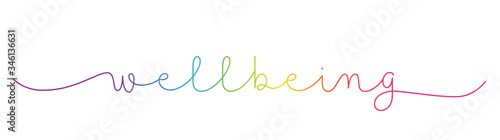 Fototapeta WELLBEING rainbow-colored vector monoline calligraphy banner with swashes obraz