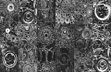 Set Of Old Worn, Rough Mechanical Gears Made Of Rusty Metal. Design Minimalism. Iron Composition. Retro Style. Stylish Top And Trendy Design Textures Round Gears.