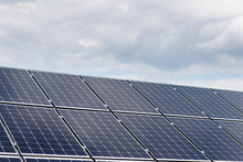 Close-up View Of Solar Panels On A Background Of Blue Sky
