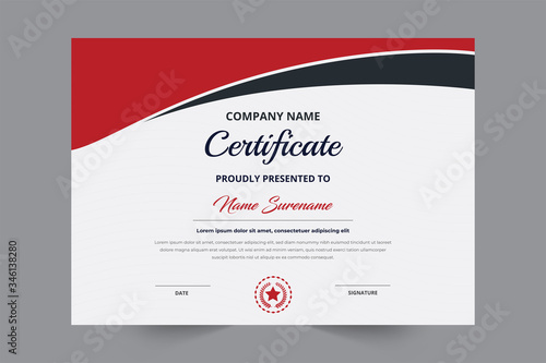 Certificate template with a badge and red & black color modern shape Canvas Print