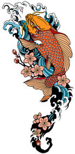 Koi Carp Swimming Upstream And Sakura Blooming. Japanese Gold Fish With Water Waves And Cherry Tree Flowers Blossom. Tattoo . Vector Illustration