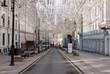 Empty Nikolskaya street in Moscow during the quarantine lockdown in April 2020