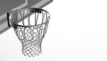 Silver Net Of A Basketball Hoo...