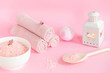 spa still life on pink background , home spa koncept, treat yourself, stay home