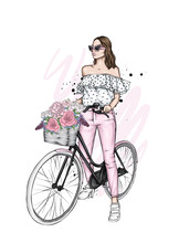 Beautiful Girl With A Vintage Bike. Pants And T-shirt. Vector Illustration For A Card Or Poster, Print On Clothes. Fashion, Style And Accessories.