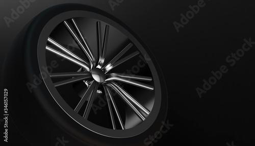 Foto Aluminium on shadow and light rim of luxury car wheel
