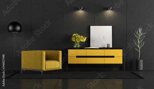 Valokuvatapetti Black and yellow room with armchair and sideboard