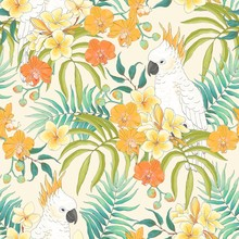 Seamless Summer Pattern With Flowers Plumeria, Orchid, Leaves And White Parrot Cockatoo. Vector Tropical Illustration In Vintage Style On Beige Background.