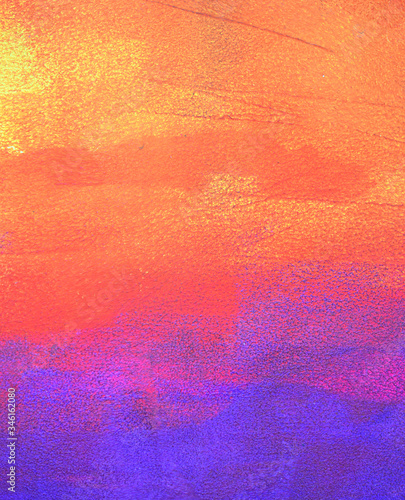 Bright orange and purple abstract background paintted with acryl on paper, paper Canvas Print