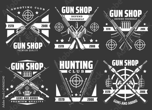 Photo Gun shop and military ammunition weapon store vector icons