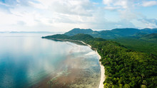 Aerial Of Secluded Beach And G...