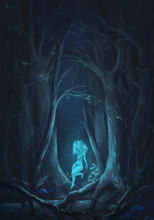 The Girl In A Forest. Fantasy Illustration With A Nymph Or Dryad. Digital Painted Scene.