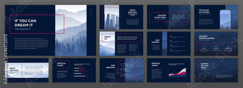 Fototapeta Modern powerpoint presentation templates set. Use for modern keynote presentation background, brochure design, website slider, landing page, annual report, company profile, advertising banner obraz
