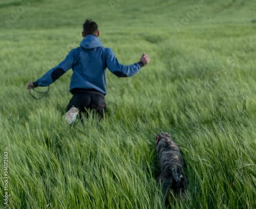 Photo un chico y un perro corren alegres por el campo