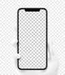Mockup smartphone holding in hand Isolated on transparent background with blank screen for your design. Realistic vector illustration