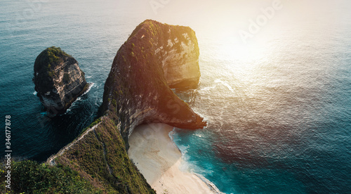 Manta Bay or Kelingking Beach on Nusa Penida Island is one of the most famous tourist attraction place to visit in Bali, Indonesia Canvas Print
