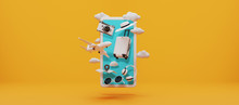 Traveling Suitcase With Travel Accessories On Yellow Background. Travel Concept. 3d Rendering.