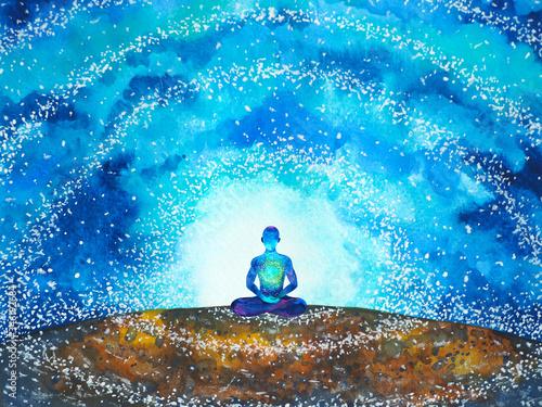 Foto human meditate mind mental health yoga chakra spiritual healing watercolor paint