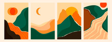 Mountain, River View. Hills, Clouds, Sun, Moon. Paper Cut Style. Flat Abstract Design. Scandinavian Style Illustration. Set Of Four Hand Drawn Trendy Vector Illustrations. Cool Backgrounds