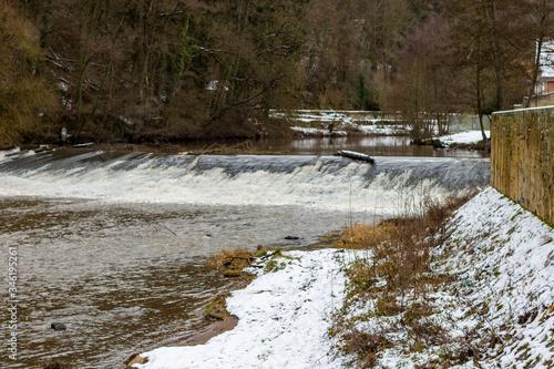 Photo Water dam, barrage in the Glan river in Meisenheim