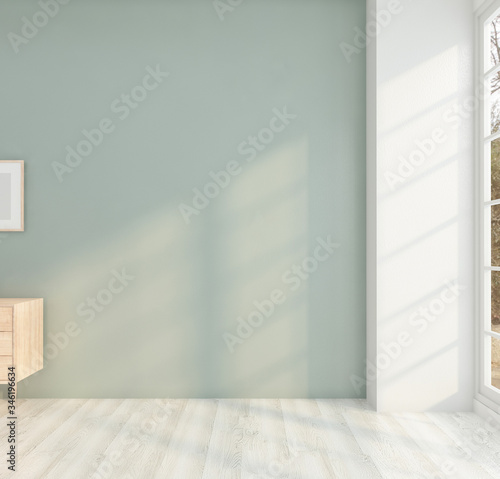 Valokuvatapetti Minimal room with sideboard and green milieu wall. 3D rendering