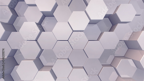 Fototapety, obrazy: Geometric Hexagon pattern shape Block Wall Bump 3D illustration abstract background.