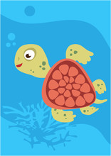 Vector Image Of Turtle On Blue...