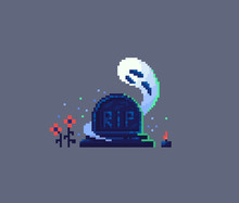 Pixel Art Tombstone And Ghost.