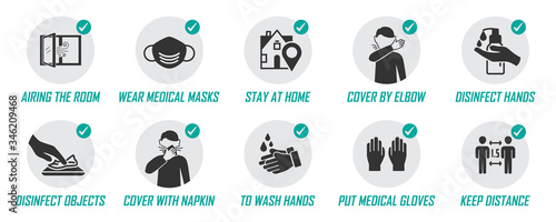 Fotografie, Tablou Preventive measures icons for not getting sick and not spreading virus