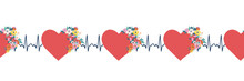 EKG Hearts Seamless Vector Bor...