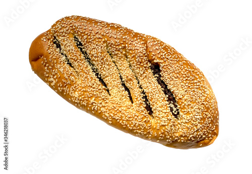 Vászonkép Ma'arook bread with date fruit and sesame seeds isolated on white background, top view